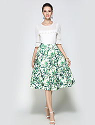 Women's Daily Going out Holiday Midi Skirts A Line Polyester Animal Print Winter Fall