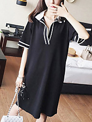 Women's Going out Casual/Daily Sexy Simple Loose Dress,Striped Shirt Collar Above Knee Short Sleeves Polyester Spring Summer Mid Rise