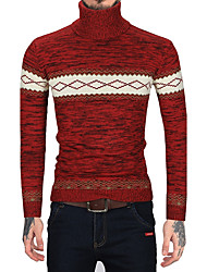 Men's Daily Work Vintage Casual Regular Pullover,Striped Color Block Turtleneck Long Sleeves Wool Faux Fur Cotton Winter Fall Medium
