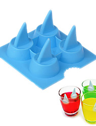 Shark Fin Shape Ice Mold Silicone 4 Holes Ice Cream Maker Bar Drink Whiskey Mould