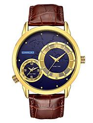 abordables -Hombre Cuarzo Reloj de Pulsera Gran venta Cuero Auténtico Banda Casual Moda Negro Marrón