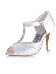 cheap -Women's Shoes Stretch Satin Summer Basic Pump Wedding Shoes Stiletto Heel Peep Toe Crystal / Ruffles for Wedding / Party & Evening White