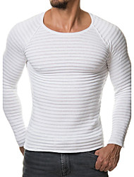 cheap -Men's Daily Sports Work Casual Active Chinoiserie Regular Pullover,Solid Round Neck Long Sleeves Cotton Winter Fall Medium Stretchy