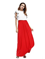 Women's Party Beach Holiday Going out Casual/Daily Sexy Vintage Simple Loose Shift Swing Dress,Solid Crew Neck Maxi Short Sleeves Rayon