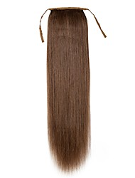 16inch -24inch  Chestnut Brown 100% human hair clip in hairpiece high ponytail 80g