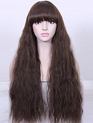 cheap -Natural Long Curly Wig High Temperature Fiber Women Brown Wig Synthetic Hair Wig
