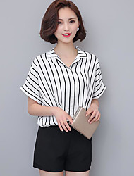 cheap -Women's Daily Casual Blouse,Striped Shirt Collar Short Sleeves Polyester