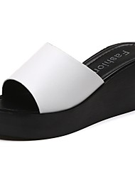 cheap -Women's Slippers & Flip-Flops Light Soles Fall Winter PU Casual Dress Wedge Heel Black White 2in-2 3/4in