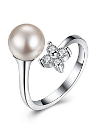 Women's Cuff Ring Cubic Zirconia Fashion Silver Imitation Pearl Circle Flower Jewelry ForParty Birthday Other Engagement Gift Daily