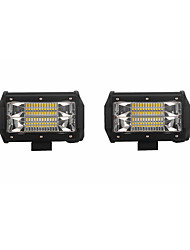 2PCS 72W 7200lm 6000K LED White Flood 3-Rows Working Light for Car/Boat/Headlight   9v-32v