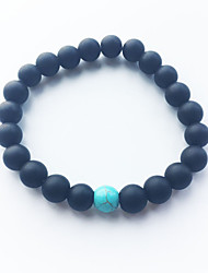 cheap -Black Matte Blue Turquoise Bracelet Agate Beads