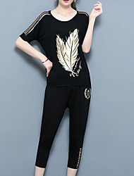 abordables -Femme Sortie Grandes Tailles Chinoiserie Tee-shirt - arbres / Feuilles Pantalon