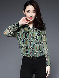 cheap -1898 Women's Daily Casual Shirt,Solid Print V Neck Long Sleeves Silk