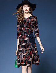 Women's Party Going out Vintage Sheath Dress,Print Round Neck Knee-length Half Sleeves Polyester Spring Fall Mid Rise Inelastic Medium