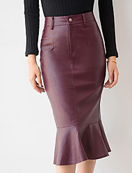 Women's Going out Casual/Daily Holiday Midi Skirts,Simple Street chic Trumpet/Mermaid Solid Spring Fall