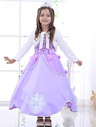 baratos -Menina de Vestido Sólido Floral Jacquard Todas as Estações Algodão Raiom Poliéster Manga Curta Floral Laço Roxo