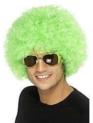 abordables -Pelucas sintéticas / Pelucas de Broma Rizado Pelo sintético Peluca afroamericana Verde Peluca Media Sin Tapa