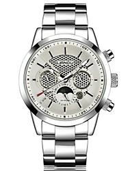 abordables -Hombre Cuarzo Reloj de Pulsera Gran venta Acero Inoxidable Banda Casual Moda Negro Blanco Plata