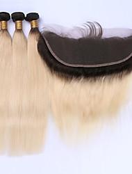 Недорогие -Бразильские волосы Прямой Волосы Уток с закрытием Ткет человеческих волос Черный / Bleach Blonde Расширения человеческих волос
