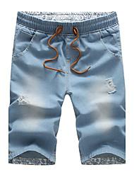 Da uomo A vita medio-alta Semplice Anelastico Jeans Pantaloni,Dritto Tinta unita Strappato