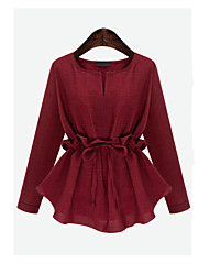 Women's Plus Size Going out Casual/Daily Work Simple Spring Fall Shirt,Solid V Neck Long Sleeves Linen Medium