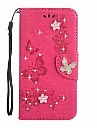 cheap -Case For Samsung Galaxy Card Holder Wallet Rhinestone with Stand Flip Magnetic Embossed Full Body Cases Butterfly Hard PU Leather for J5
