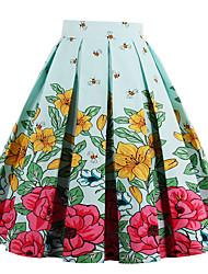 Women's Daily Going out Holiday Midi Skirts A Line Cotton Geometric Spring Summer Fall