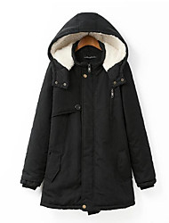 Dámské S vycpávkou Jednoduché Běžné/Denní Jednobarevné-Kabát Bavlna Bavlna Dlouhý rukáv