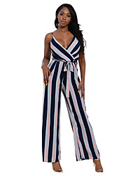 Women's V Neck Strap High Rise Casual/Daily Holiday Slim Wide Leg Backless Color Block Striped Patchwork Summer Jumpsuits