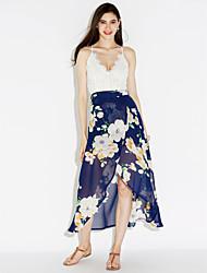 cheap -Women's Beach Sophisticated Chiffon Swing Dress - Floral Patchwork, Lace Split High Rise Maxi Asymmetrical V Neck