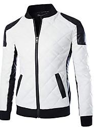 Недорогие -Пальто Простое Обычная На подкладке Для мужчин,Однотонный Контрастных цветов На каждый день Полиуретановая Полипропилен,Длинный рукав
