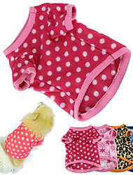 abordables -Chat Chien Tee-shirt Pyjamas Vêtements pour Chien Points Polka Rouge Rose Marron Bleu Rose # 5 Polaire Costume Pour les animaux