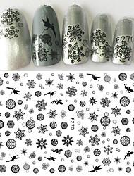 cheap -1pcs Christmas Snowflake Nail Art 3D Sticker Beautiful Black Snowflake Pattern Beautiful Butterfly Elf Fairy Lovely Decoration For Nail Beauty F270