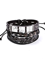 cheap -Men's Women's Leather Bracelet Personalized Basic Elegant Two-tone Fashion Gothic Rock Simple Style Leather Circle Geometric Jewelry
