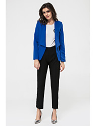 cheap -Women's Fall Blazer,Solid Shirt Collar Long Sleeve Blue / White / Black Medium