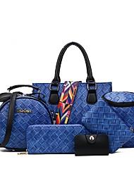 preiswerte -Damen Taschen PU Bag Set 6 Stück Geldbörse Set für Veranstaltung / Fest Normal Formal Büro & Karriere Draussen Ganzjährig Blau Schwarz