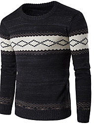 cheap -Men's Daily Going out Regular Pullover,Striped Shirt Collar Long Sleeves Cotton Spandex Winter Fall Thick Stretchy