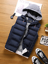 Men's Daily Going out Simple Casual Street chic Winter Fall Vest,Solid Hooded Long Sleeve Regular Polyester
