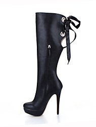Women's Boots Fashion Boots PU Winter Party & Evening Dress Lace-up Black 5in & over