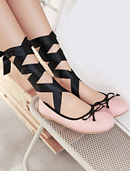 Women's Shoes PU Spring Comfort Flats Flat Heel Round Toe For Casual Black Blushing Pink Screen Color