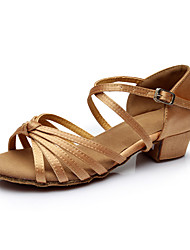 Women's Latin Silk Flats Indoor Buckle Customized Heel Nude Customizable