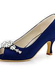 cheap -Women's Wedding Shoes Basic Pump Stretch Satin Spring Summer Wedding Party & Evening Crystal Stiletto HeelLight Pink Blue Green Navy Blue