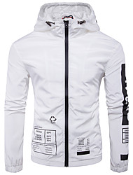 Men's Going out Casual/Daily Work Simple Fall Jacket Solid Hooded Long Sleeve Regular Cotton Polyester White
