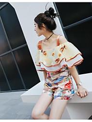 Chemise Pantalon Costumes Femme,Fleur Décontracté / Quotidien simple Eté Manches Courtes A Bretelles