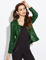 cheap -Women's Sophisticated Plus Size Leather Jacket - Solid Colored Square Neck