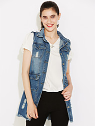 cheap -Women's Daily Street chic Fall Slim Long Holes Denim Vest Jackets