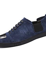 economico -Da uomo Sneakers Suole leggere Autunno Inverno Pelle Casual Lacci Punta metallica Piatto Nero Blu scuro Cachi Piatto