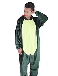 Недорогие -Взрослые Пижамы кигуруми Дракон Динозавр Цельные пижамы Фланель Зеленый / Розовый Косплей Для Муж. и жен. Нижнее и ночное белье животных Мультфильм День всех святых Фестиваль / праздник