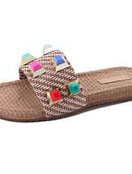 cheap -Women's Slippers & Flip-Flops Comfort Summer PU Walking Shoes Casual Flat Heel Beige Screen Color 2in-2 3/4in