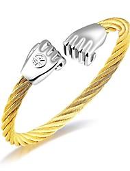 Недорогие -Муж. Цирконий Браслет цельное кольцо - Цирконий, Титановая сталь, Позолоченное розовым золотом Звезда Роскошь, кисточка, Классический Браслеты Золотой / Белый / Черный Назначение